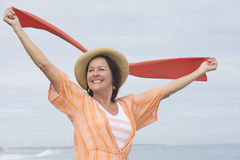 Mature woman happy positive outdoor Stock Photos