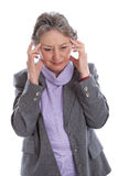 Mature woman has a headache - elder woman isolated on white back Stock Photos