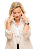 Mature woman has headache isolated on white background Stock Photo
