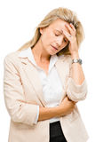 Mature woman has headache isolated on white background Stock Image