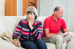Mature woman having conflict with husband Royalty Free Stock Photography