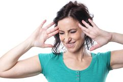 Mature woman with head ache Stock Photos