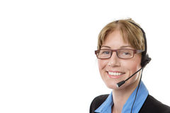 Mature woman with headset Royalty Free Stock Photography