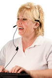 Mature woman headset operator Stock Photos