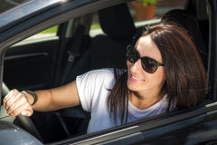 Mature woman in her car Royalty Free Stock Image