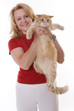 Mature woman and her cat Royalty Free Stock Image