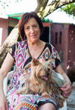 Mature woman with her dog Stock Image