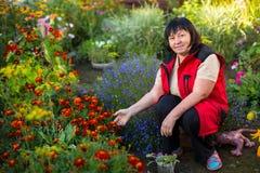 Mature woman in her garden. Floriculture. Stock Photos