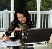 Mature woman and her pet cat working at home Royalty Free Stock Photos