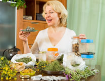 Mature woman with herbs at table Royalty Free Stock Images