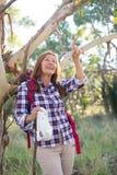 Mature woman hiking  in Australian bush Royalty Free Stock Photography