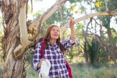 Mature woman hiking  in Australian bush Royalty Free Stock Photo