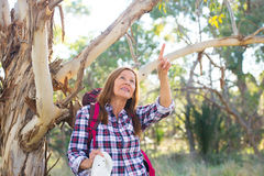 Mature woman hiking  in Australian bush Royalty Free Stock Photos