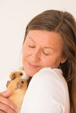 Mature woman holding guinea pig pets. Portrait happy smiling attractive mature woman cuddling guinea pig pets, isolated, bright background Royalty Free Stock Photography