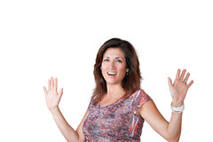 Mature woman holding out her arms Stock Photography