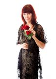 Mature woman holding red rose Royalty Free Stock Photography