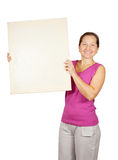 Mature woman  holds  placard Stock Images