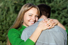 Mature woman hugging her husband with love Stock Photos