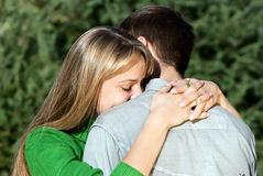 Mature woman hugging her husband with love Stock Photo