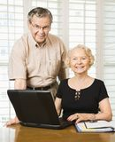 Mature woman with laptop. royalty free stock photos