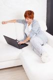 Mature woman with laptop Stock Photos