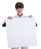 Mature woman leaning on white banner. Portrait against of white background Stock Image