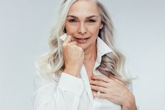 Mature woman looking attractive royalty free stock images