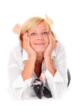 Mature woman lying Royalty Free Stock Photo