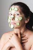 Mature woman making cosmetic mask Stock Photography