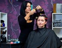 Mature woman making new haircut Royalty Free Stock Photography