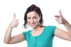 Mature woman messing around Royalty Free Stock Photography