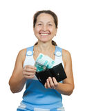Mature woman with money Stock Photos