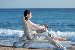 Mature woman  near sea Royalty Free Stock Images