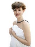 Mature woman with a necklace. Happy mature topless woman with a pearl necklace Royalty Free Stock Photos