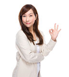 Mature woman with ok sign Stock Image