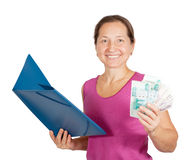 Mature woman  with paper folder and money Stock Images