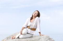 Mature woman peaceful relaxed outdoor isolated Royalty Free Stock Photo