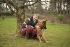 Mature woman with pet Alsatian. In field stock photos