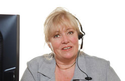Mature woman phone assistance Stock Images
