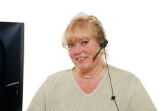 Mature woman phone assistance Royalty Free Stock Image