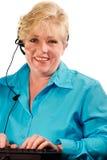 Mature woman phone assistance Royalty Free Stock Photos