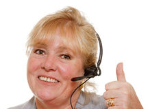Mature woman phone assistance Stock Image