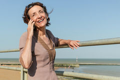 Mature Woman on the phone Royalty Free Stock Image