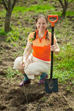 Mature woman planting tree. At garden in spring Royalty Free Stock Images