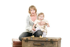 Mature woman playing with little child Royalty Free Stock Photo