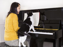 Mature woman playing piano with her family Cat Stock Photos