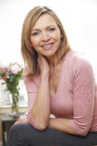 Mature woman portrait. Waist up portrait of mature caucasian woman in her 40's stock images
