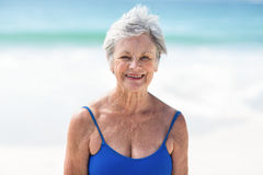 Mature woman posing in swimsuit Stock Photography