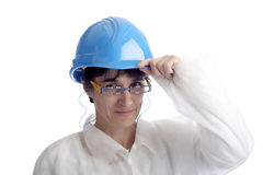 Mature woman with protection helmet Royalty Free Stock Photo