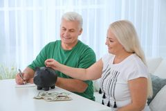 Mature woman putting money into piggy bank and her husband stock image